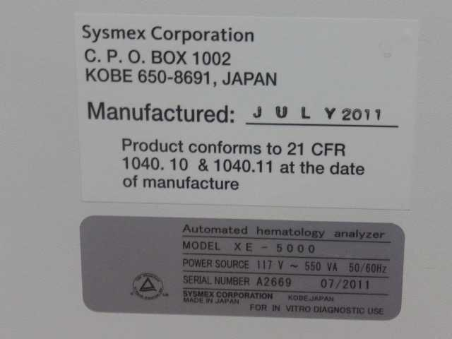 Sysmex XE-5000 HEMATOLOGY ANALYZER - NWS Medical Scientific